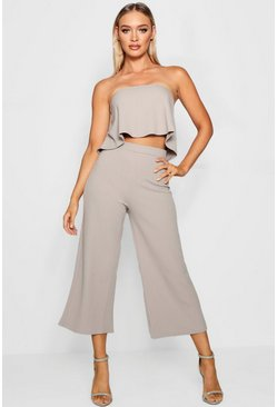 Womens Grey Bandeau Top & Culottes Co-Ord Set