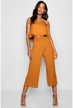 Mustard Bandeau Top & Culottes Co-Ord Set