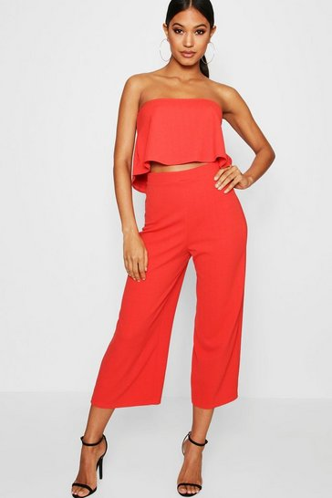 Womens Sahara red Bandeau Top & Culottes Co-Ord Set