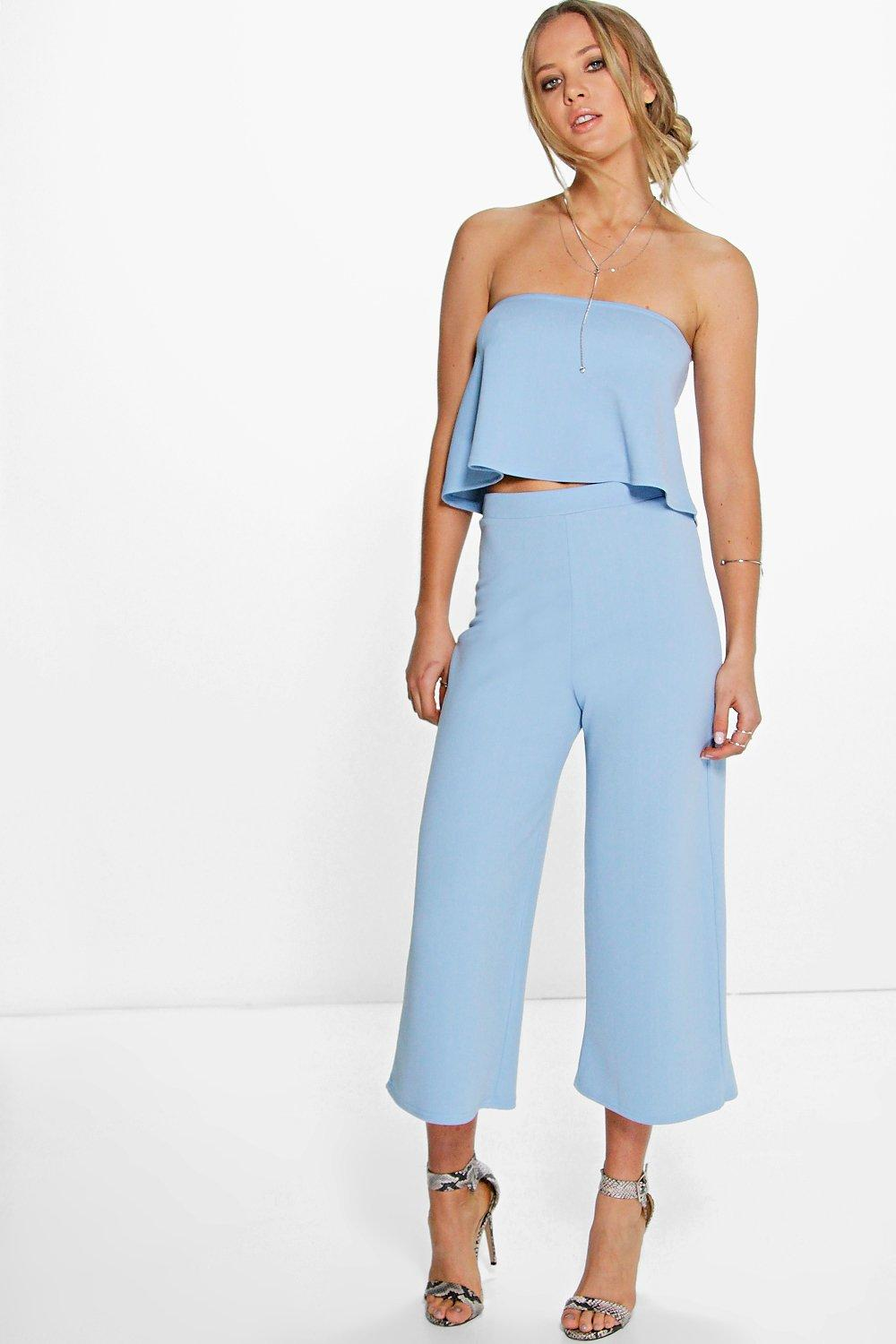 womens tube top & culottes two-piece set - blue - 2