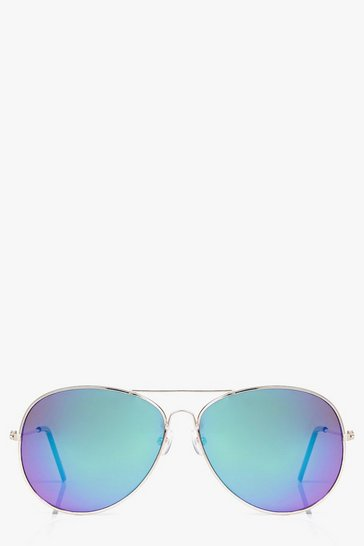 Gold Frame Mirror Lens Aviator Sunglasses