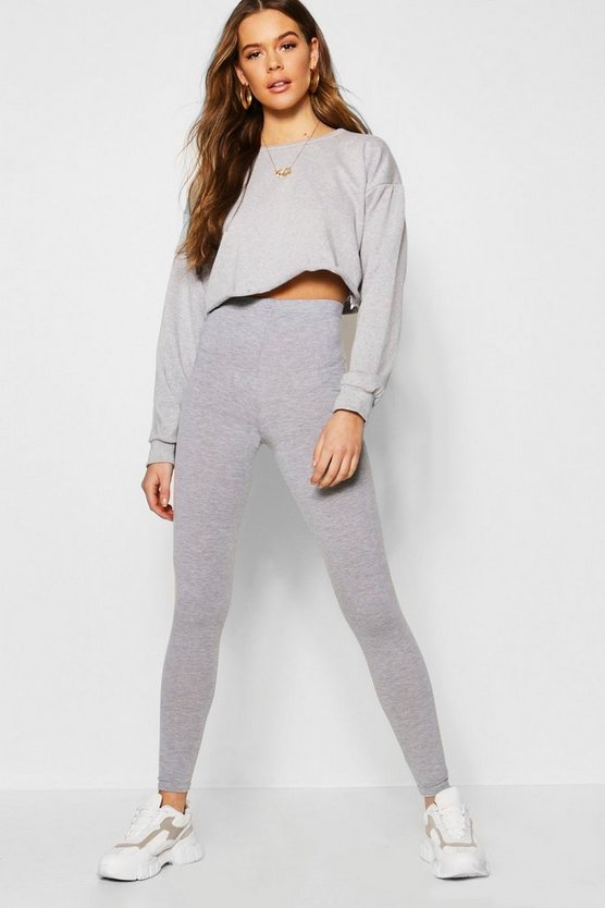 Womens Grey marl Basic Jersey Leggings