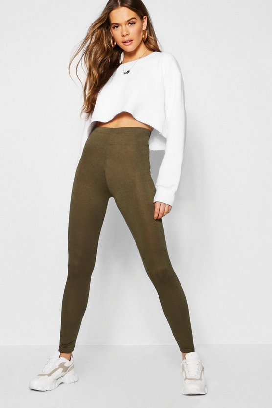Legging basic jersey, Khaki, Femmina