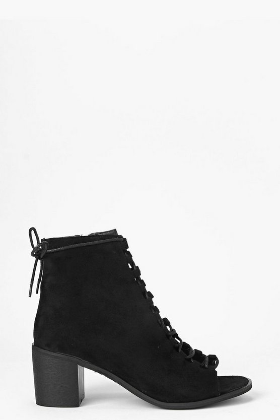Womens Black Peeptoe Lace Up Shoe Boots