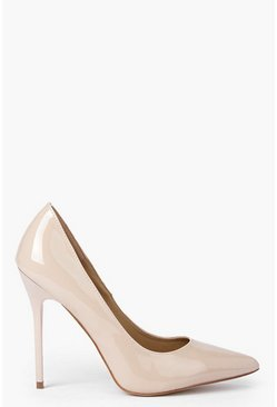 Womens Nude Patent Court Shoes