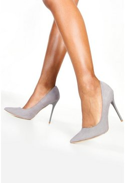 Grey Pointed Court Shoe Heels