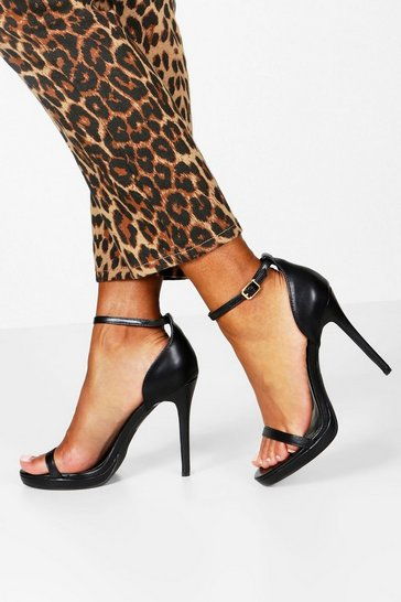 Black Single Platform Two Part Heels