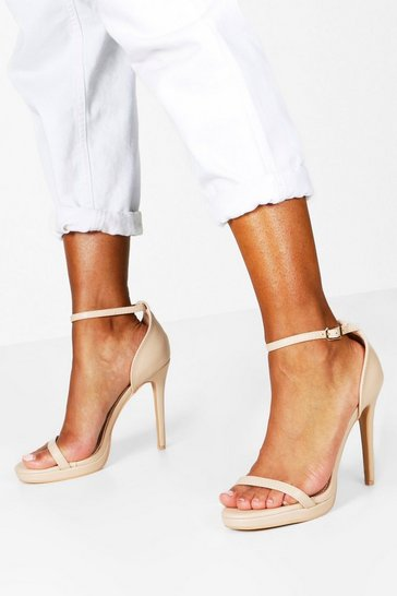 Womens Nude Single Platform Two Part Heels