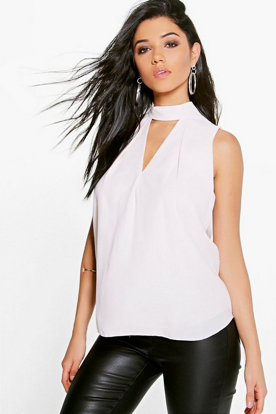 Eva Cut Out Pleat Front Woven Swing Top