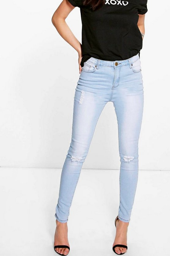 Ada Light Wash High Waisted Skinny Jeans