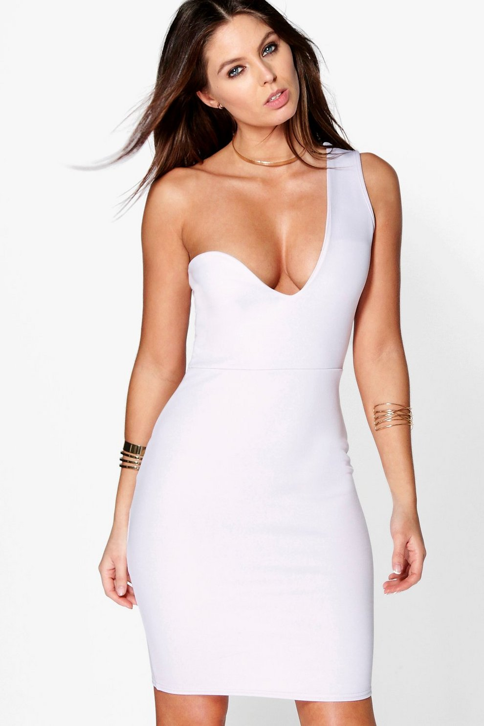 b5acfbf767 Ina One Shoulder Asymmetric Plunge Dress