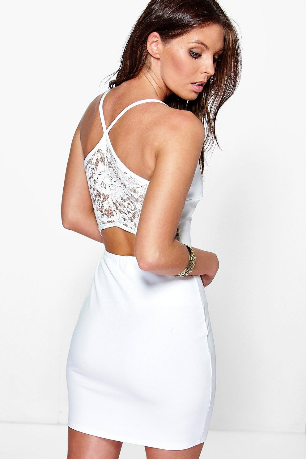 278a3d39fadf Luisse Lace Back Strappy Bodycon Dress | Boohoo