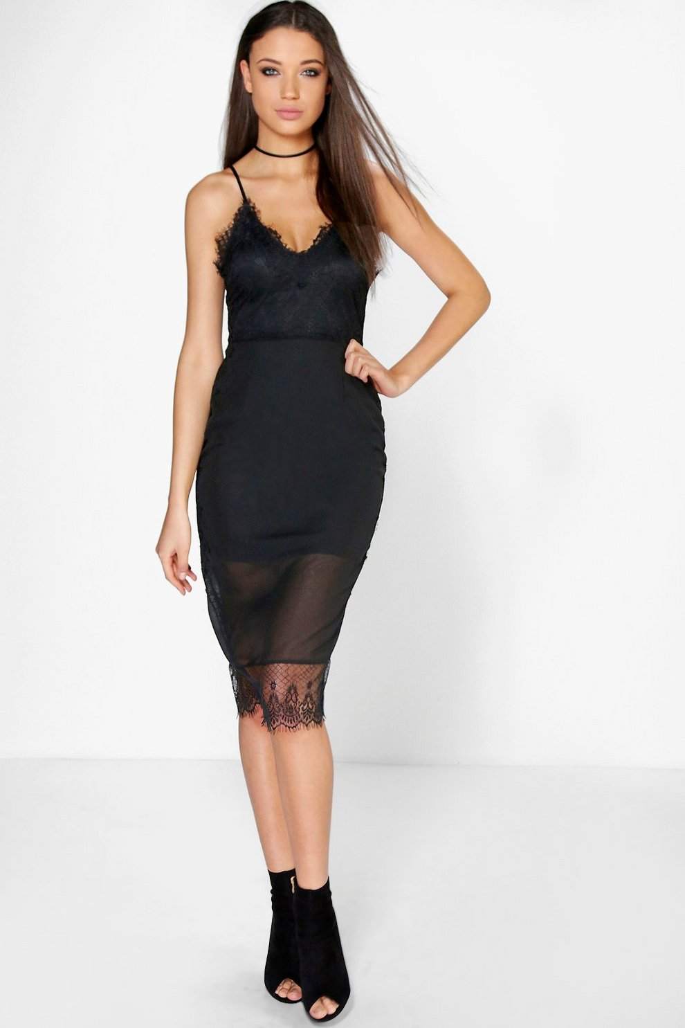 4d415be79c93 Boutique Lia Eyelash Lace + Chiffon Midi Dress | Boohoo