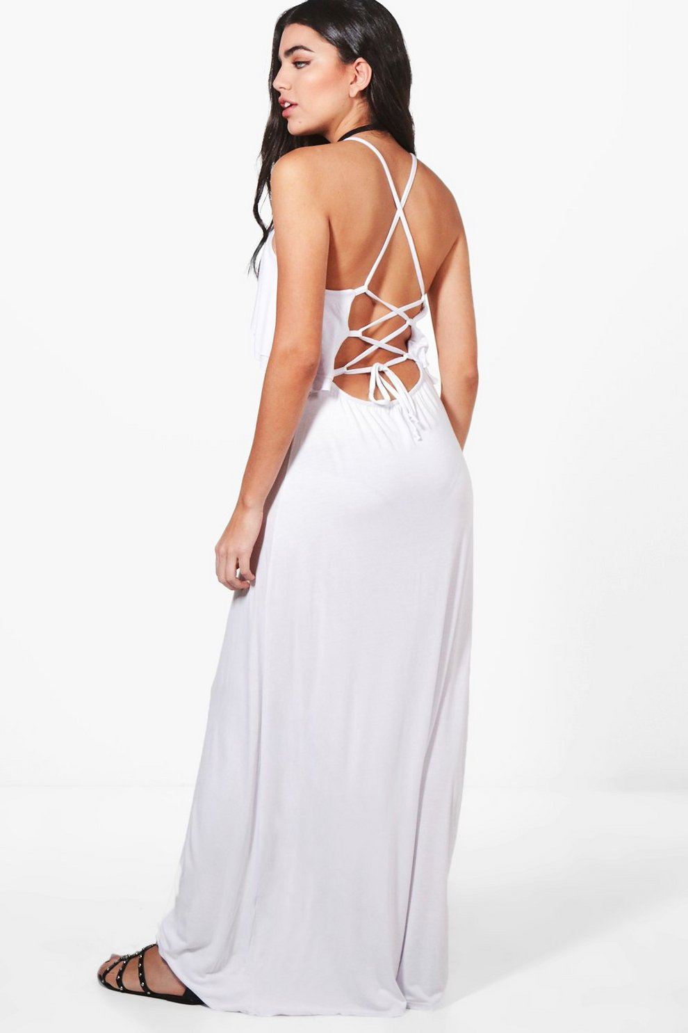 582efc6f520a Womens White Ruffle Lace Up Back Maxi Dress. Hover to zoom