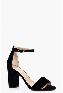 Womens Black Two Part Block Heels