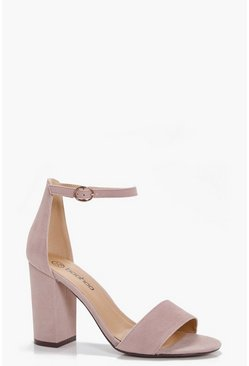 Womens Taupe Two Part Block Heels