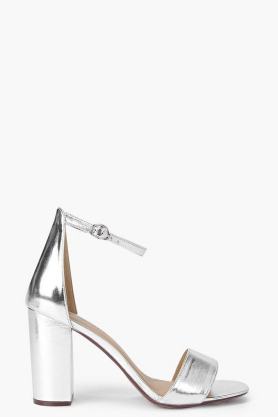 Womens Silver Angel Block Heel Two Part court