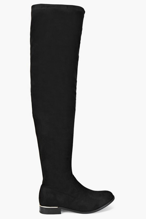 Stretch Thigh High Flat Boots