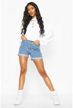 Womens Mid blue High Rise Denim Mom Shorts