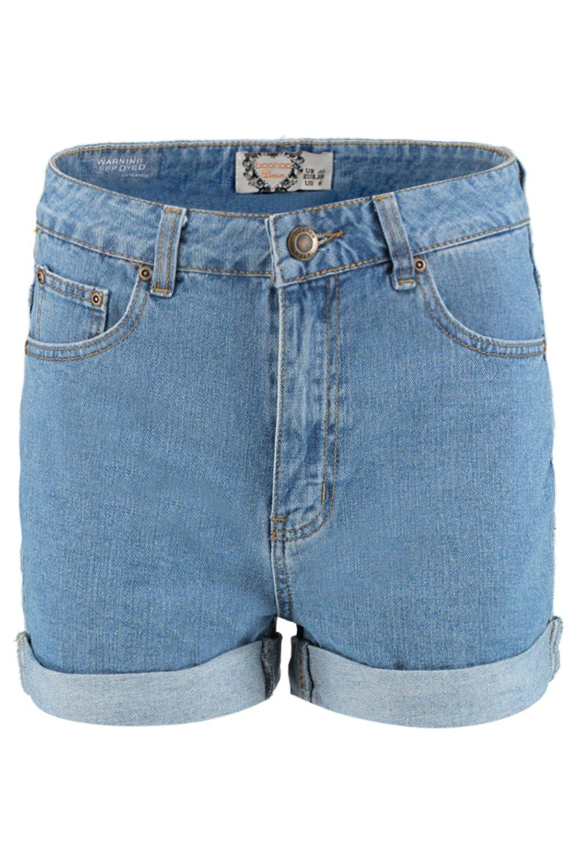 medio Azul alto mom denim Pantalones cortos talle de estilo 8SPOFq