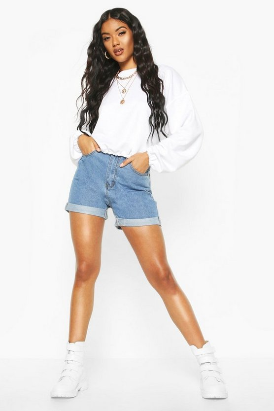 High Rise Denim Mom Shorts High Rise Denim Mom Shorts by Boohoo
