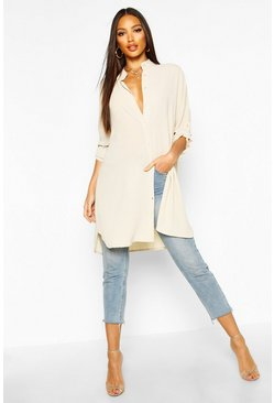 Womens Cream Longline Oversized Sleeve Shirt