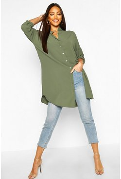 Womens Khaki Longline Oversized Sleeve Shirt