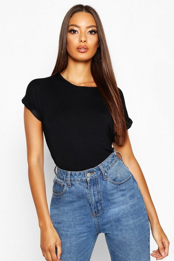 Boxy Turn Cuff Basic T-Shirt