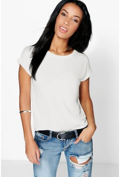 Womens Cream Boxy Turn Cuff Basic T-Shirt
