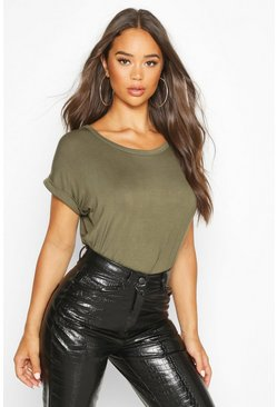 Khaki Boxy Turn Cuff Basic T-Shirt