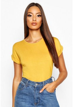 Mustard Boxy Turn Cuff Basic T-Shirt