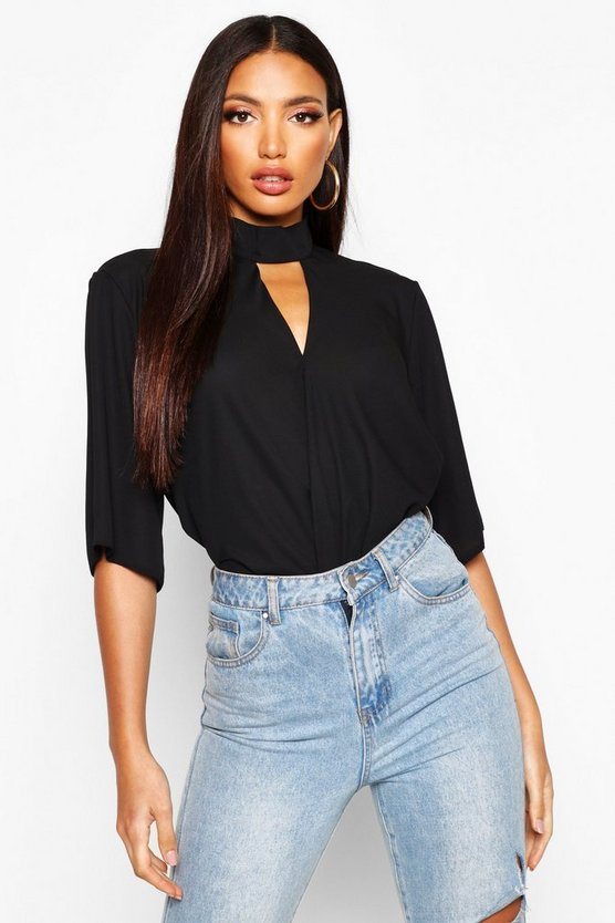 Black High Neck Cut Out Choker Wrap Front Blouse