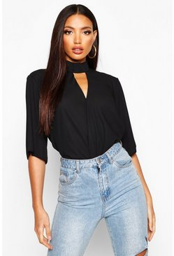 Womens Black High Neck Cut Out Choker Wrap Front Blouse