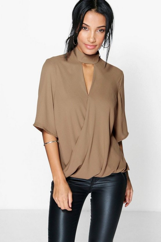 Womens Khaki High Neck Cut Out Choker Wrap Front Blouse
