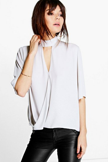 Womens Silver High Neck Cut Out Choker Wrap Front Blouse