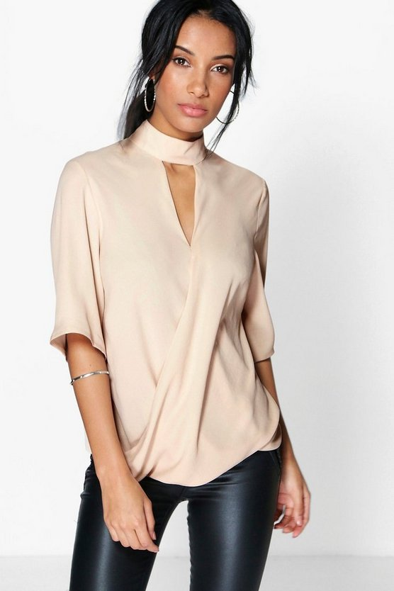 Womens Stone High Neck Cut Out Choker Wrap Front Blouse