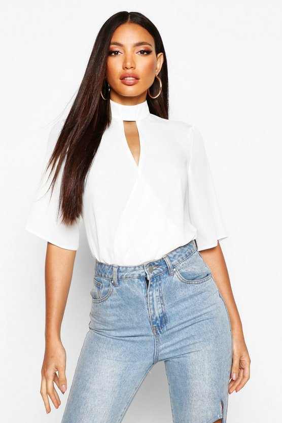 Womens White High Neck Cut Out Choker Wrap Front Blouse