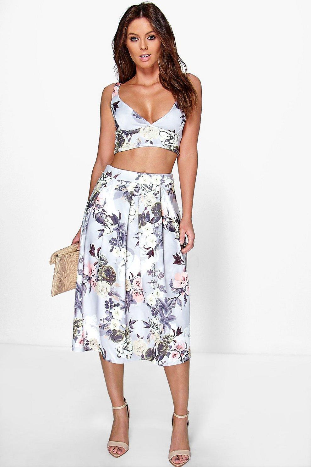 d6a374bbeb17 Vaida Floral Full Midi Skirt & Bralet Co-Ord Set   Boohoo
