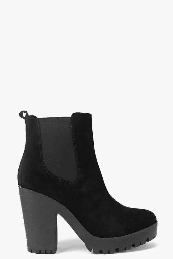 Block Heel Cleated Chelsea Boots