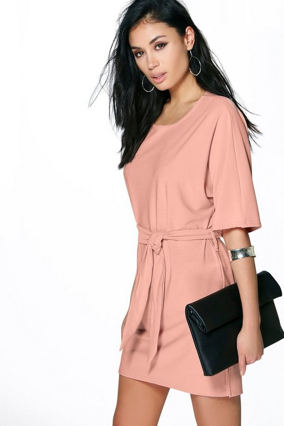 Womens Peach Allie Tie Waist Shift Dress