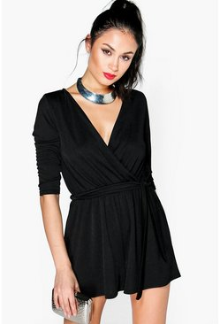 Womens Black Cleo Wrap Front Self Belt Playsuit