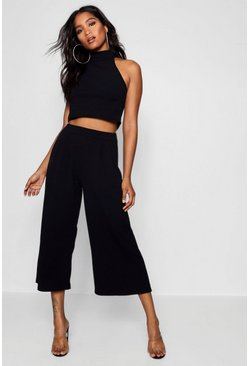 Black Rose High Neck Crop & Long Culotte Co-Ord Set