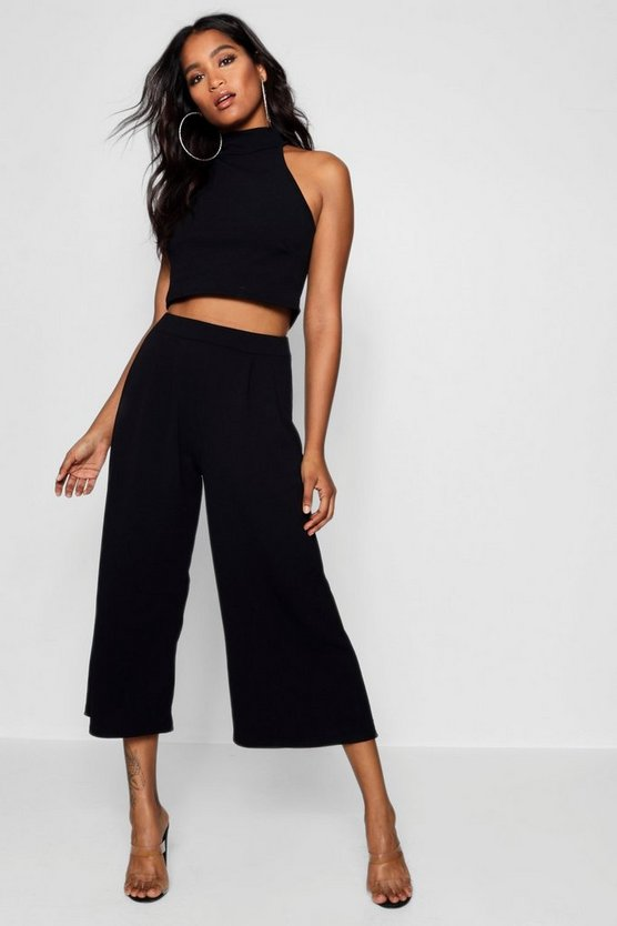 Womens Black Rose High Neck Crop & Long Culotte Co-Ord Set