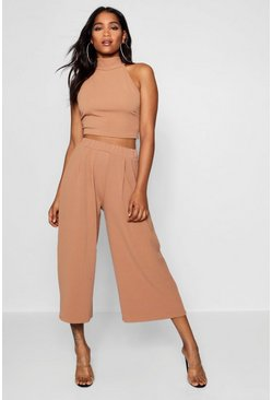 Womens Camel Rose High Neck Crop & Long Culotte Co-Ord Set