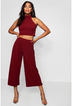 Cranberry Rose High Neck Crop & Long Culotte Co-Ord Set
