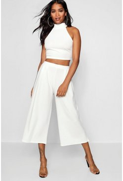 Womens Ivory Rose High Neck Crop & Long Culotte Co-Ord Set