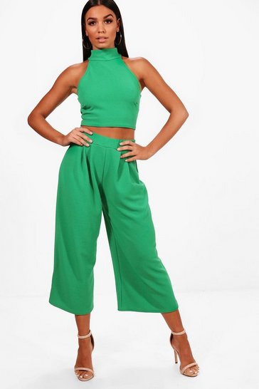 Womens Leaf green Rose High Neck Crop & Long Culotte Co-Ord Set