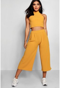 Womens Mustard Rose High Neck Crop & Long Culotte Co-Ord Set