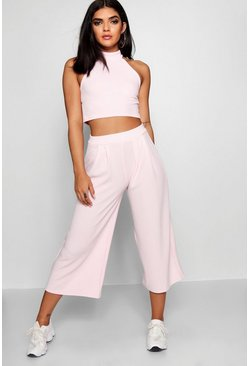 Womens Soft pink Rose High Neck Crop & Long Culotte Co-Ord Set