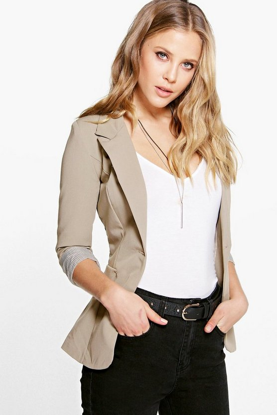 Turn Up Cuff Woven Blazer